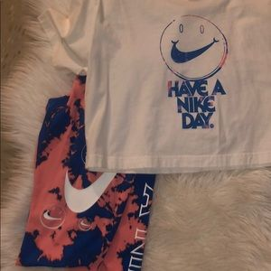 Nike two piece crop top and leggings set